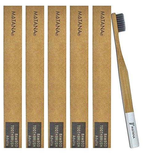 5 Premium Cepillos de Dientes de Bambú para Adulto - Blanqueamiento de Dientes Naturales Cepillos de Madera - Ecológico, 100% Biodegradable y Libre de BPA - Cerdas Suaves Infundidas de Carbón