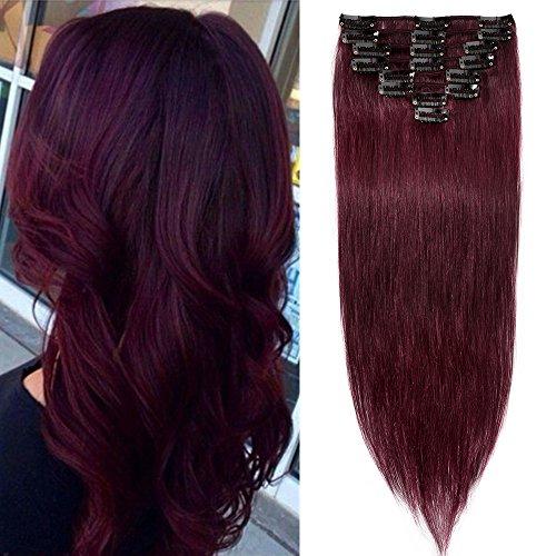 40-55cm extension clip red capelli veri 45cm -#99j vino rosso- 8 fasce 100% remy human hair capelli naturali lisci lunghi