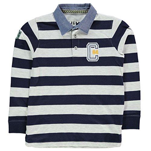 Crafted Kinder Jungen Gestreiftes Rugby Polo Shirt Langarm Polohemd Grau/Marineblau 6-7 Jahre (Rugby-shirt Gestreiftes)