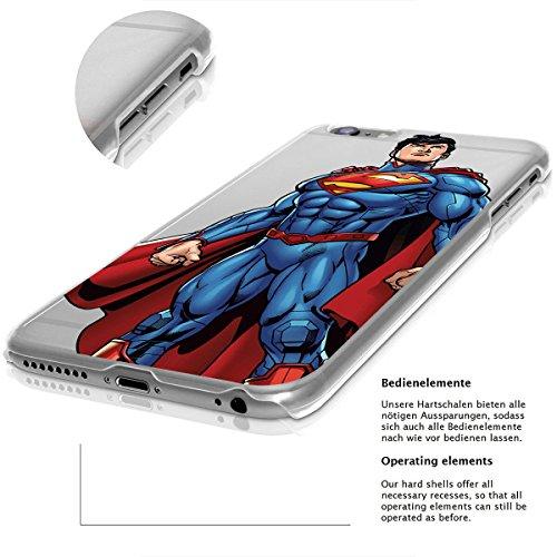 """finoo   iPhone 6 und 6S Hard Case Handy-Hülle """"Justice League"""" Motiv   dünne stoßfeste Schutz-Cover Tasche mit lizensiertem Muster   Premium Case für Dein Iphone  Superman comic 2 Superman comic 1"""