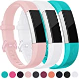 For Fitbit Alta HR And Alta Bands, Maledan Replacement Accessories Wristbands For Fitbit Alta And Alta HR, Pink White Teal Small