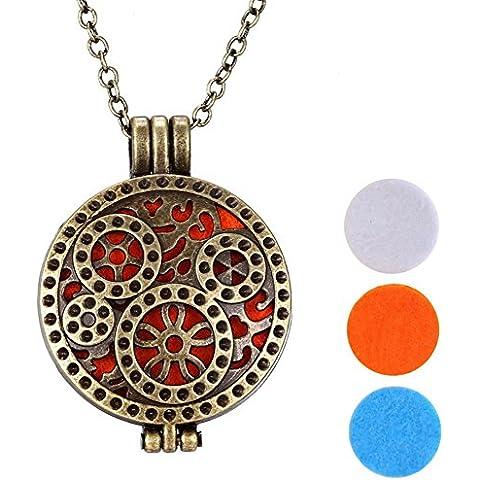 Gioielli aromaterapia moda Meilanty oli essenziali diffusore medaglione collana con catena 24 pollici e 3 i rilievi lavabili