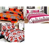 Furnishing Kingdom Super Home Combo Set Of 3 Grace Cotton King Size Double Bedsheet With 6 Pillow Covers