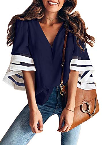 Aleumdr Damen Bluse Elegant V-Ausschnitt Vintage Tunika Hemd T-Shirt Langarm Casual Oberteil Lose Langarmshirt Geblümt Langarmshrit mit Knopfleiste Blau M -