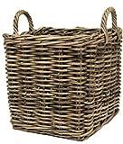 east2eden Grey Kubu Rattan Wicker Strong Square Storage Display Kindling Log Basket (Small)