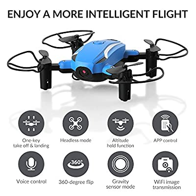 HELIFAR Foldable Drone With Camera Hd, X1 Wifi FPV Mini Drone 2.4ghz 6-axis Gyro Rc Quadcopter For Kids, Beginners, One Key Take Off/landing, Headless Mode, Altitude Hold With Two Batteries