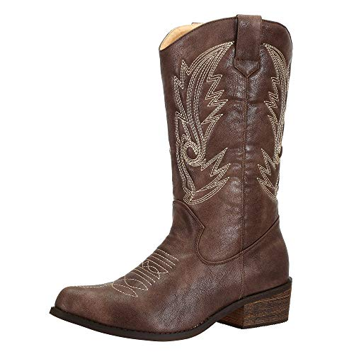 SheSole Damen Cowboystiefel Winter Spitz Zehen Western Stiefel Braun 40 -