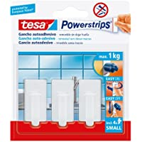 Ganchos adhesivos blancos tesa Powerstrips, 3 unidades + 4 tiras adhesivas