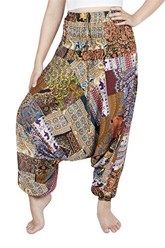 Lofbaz Jumpsuit Pantalones Parche Harem de Cintura Smocked del Pavo Real para Mujeres Una Talla - Borgoña - OS