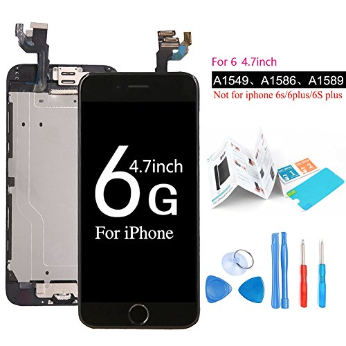 Screen Replacement Digitizer LCD Display - Ibaye For iPhone 6/6G Black New Touch Panel Complete Assembly Including Home Button Front Facing Camera Proximity Sensor Ear Speaker, Full Repair Tools, Screen protector