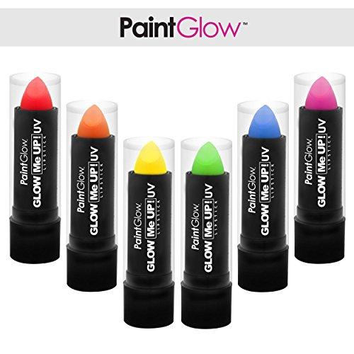 PaintGlow Lippenstift 6er Pack UV Schwarzlicht Farben fluoreszierende Schminke - kosmetisch...