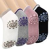 La vita Yoga-calze a pois con gomma antiscivolo contro di cotone per donna (4 coppie)