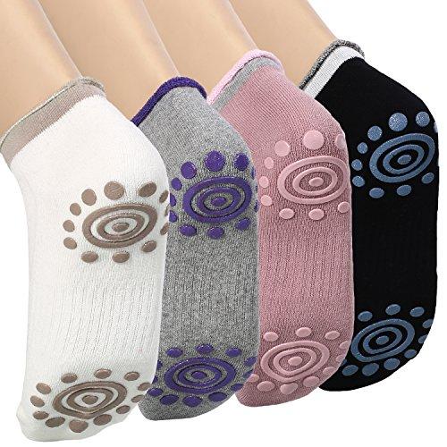 DAS Leben Yoga-Socken mit Gummipunkte gegen Rutsch von Baumwolle für Damen (4 Paare)