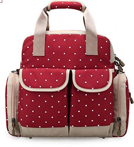 wickeltasche Mama Tasche Multifunktional Canvas wickelrucksack Leinwand Große Kapazität babytasche Pflegetasche Rucksack Muttertasche Mumie Handtasche Rot (Camping Canvas Tasche)