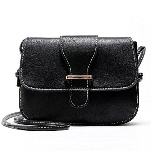 BZLine® Frauen Handtasche Umhängetasche Tasche Messenger Tasche, 18.5*14.5*5.5cm Schwarz