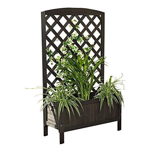 Melko® Rankkasten Blumenständer Rankhilfe, 72 x 30 x 120 cm, aus Holz, Schwarz, inklusive 1 Blumenkübel / Blumenkasten
