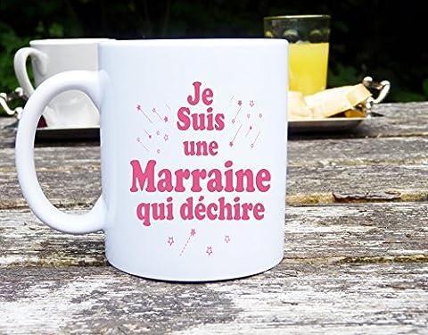 Mug je suis une marraine déchire qui , mug original, tasse à café, cadeau marraine