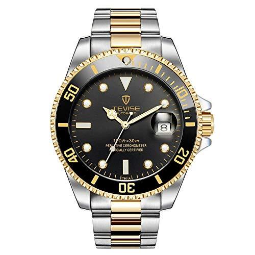 VCB TEVISE T801 Men Automatic Mechanical Watch Fashion Waterproof Luminous Watch - Silver Band (Golden&Black)