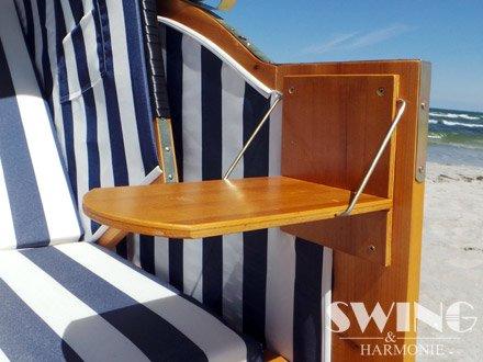 Strandkorb XXL – Luxusstrandkorb – aus Holz und Polyrattan (Blau) - 6