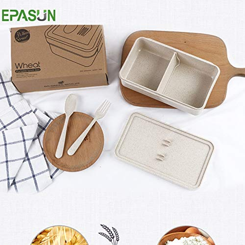 Nahasu Lunchboxen - Weizenstrohhalm Bento-Box tragbare Lunchbox für Lebensmittel, Essensbehälter, Mikrowellen-Picknick, Lebensmittel, Aufbewahrungsbox, Schüssel, von Nahasu