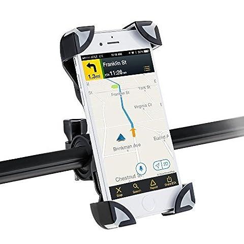 Universal Fahrrad Handyhalterung Motorrad Smartphone Halterungen Verstellbar Handyhalter für iPhone, Samsung, Huawei, Sony usw, AGPtek PS01, Grau &