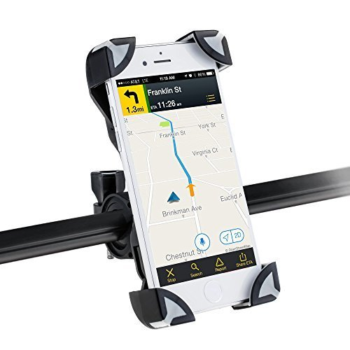 Universal Fahrrad Handyhalterung Motorrad Smartphone Halterungen Verstellbar Handyhalter für iPhone, Samsung, Huawei, Sony usw, AGPtek PS01, Grau & Schwarz