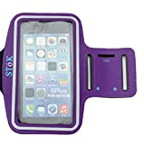 Stok (Purple) Water Resistant Sports Armband With Key Holder For All Smart Phone Under 5.5 Inch Smart Phones And Iphone 7,7Plus,6,6Plus,6S,6S Plus (5.5-Inch)