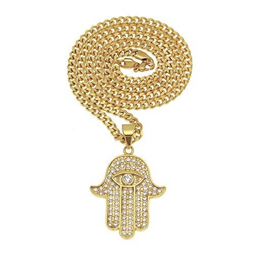mcsays HipHop Ketten die Hand der Fatima mit Eye Anhänger kubanischen Kette Edelstahl Halskette Golden Amulett Herren Fashion Accessory Jewelry