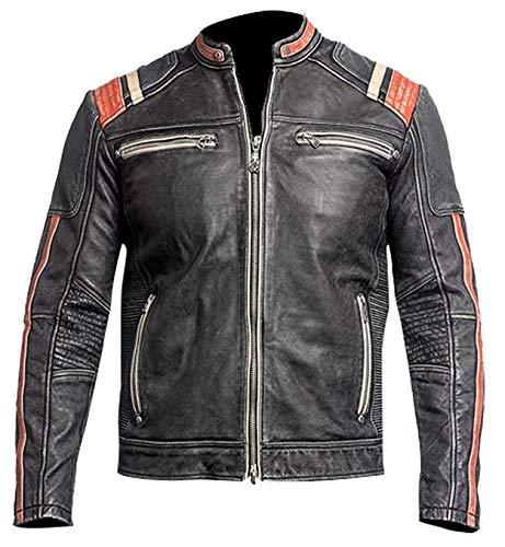 Amo Distro GT-R Biker Cafe Racer Vintage stylisch Motorrad schwarz Echtleder Jacke Gr. XXX-Large, Schwarz Racer Jacke