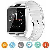 CanMixs Smartwatch DZ09 Bluetooth 3,0 Mutifunktionale Armbanduhr, unterstützt Sim & TF-Karte, mit Kamera Schrittzähler Anti-Lost Tracker Stoppuhr Nachricht Kalender für Android Phones(Weiß)