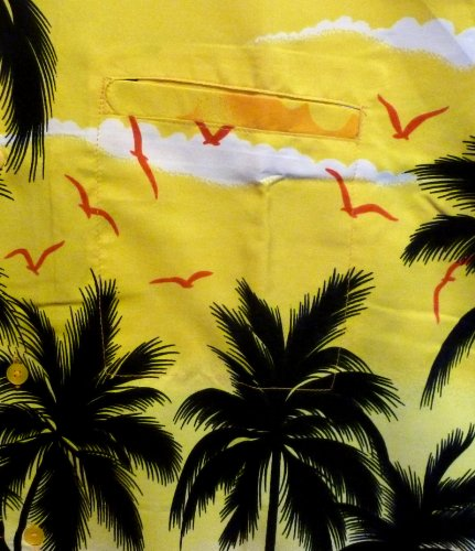 Original King Kameha | Funky Hawaiihemd | Herren | XS - 12XL | Kurzarm | Front-Tasche | Hawaii-Print | Strand Palmen Meer | Gelb Gelb