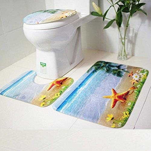 YJYdada Badezimmerteppich mit Toilettendeckel, Rutschfest, Blau, B, 5 Stück