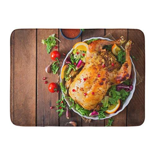 LIS HOME Bad Mat Orange Rezept gebackenes Huhn-angefüllter Reis-Weihnachtsabendessen auf festlicher Tischplatteansicht-die Türkei-Badezimmer-Dekor-Wolldecke (Die Türkei Dekor)