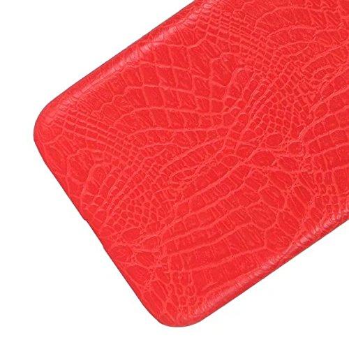 iPhone 8 Coque, Valenth Crocodile Partern Anti-Scratch Protecteur Antidérapant Grip Hybride Hard Back Coque Coque pour iPhone 8 Red