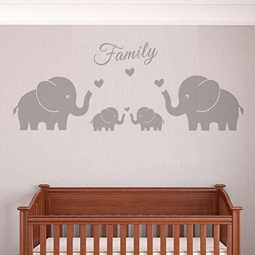 Los padres de familia y cuatro elefantes gemelos de pegatinas de pared...