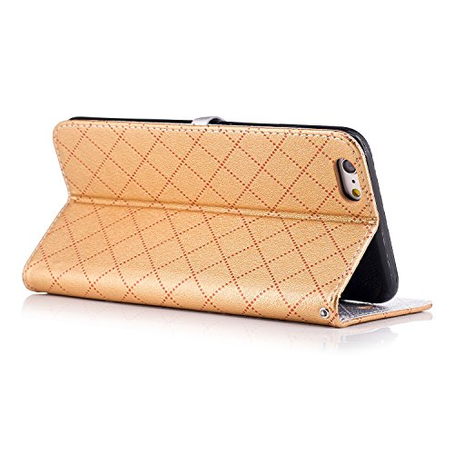 Cover iPhone 6, Custodia Flip Cover per iPhone 6s, Kio affascinante stile pu pelle magnetico Portafoglio Custodia Cover Custodia Case Cover con Stand supporto per Apple Iphone 6/iPhone 6S iPhone 7 Plu dor