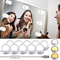 Vanity Mirror Lights Kits, Wesho - Hollywood Style LED Makeup Lights with 10 Dimmable Bulbs for Makeup Dressing Table 5 Gear Adjustable Brightness Touch Dimmer and USB Power Cord(Mirror Not Include)