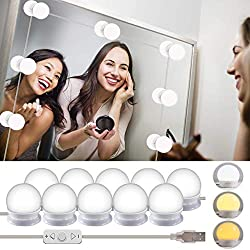 Wesho Vanity Mirror Kits, Hollywood Style LED Lights with 10 Dimmable Bulbs for Makeup Dressing Table with 5 Gear Adjustable Brightness Touch Dimmer and USB Power Cord, White
