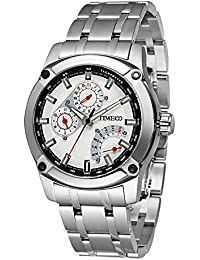 Time100 Multifunction Luminous Hands Calendar Stainless Steel Quartz Wrist Watches for Men Rose Gold #W70108G.02A (Silver)