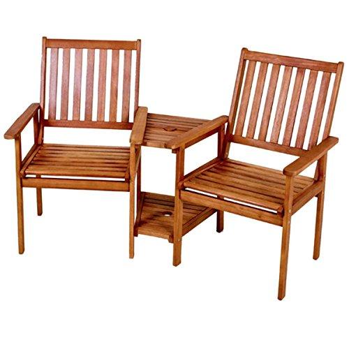 2-sitzer-set (Doppelsessel EDISON Gartenstuhl Sonnenschirmvorrichtung Tisch Stuhl 2-sitzer Eukalyptus NEU)