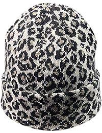 bb0289988a2a Femmes Bonnet Tricoté Imprimé Léopard,Chaud Casquette de Laine Ourlet  Chapeaux d hiver Bouffant