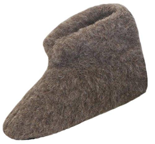 SamWo,Fußwärmer Hausschuhe braun 100% Schafwolle, Größe: 37-38 nbr
