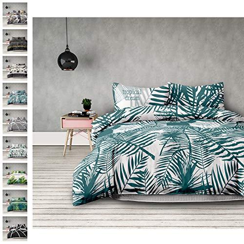 Bush Palme (AmeliaHome 01261 3tlg Bettwäsche 200x200 cm mit 2 Kissenbezügen 50x75 cm 100% Baumwolle Reißverschluss Tropen weiß grün Averi Bush)
