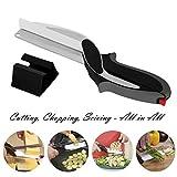 Dproptel Küchenschere Küche Messer 2-in-1 Gemüseschneider Clever Cutter Schneidebrett für Gemüse Obst Käse Schwarz