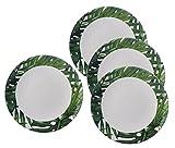 Botanics Tropical Vert et Blanc Design–Plaque latérale–Élégant, léger et Durable en mélamine Pique-Nique/Barbecue/Buffet extérieur Plaque latérale–Lot de 4–23cm
