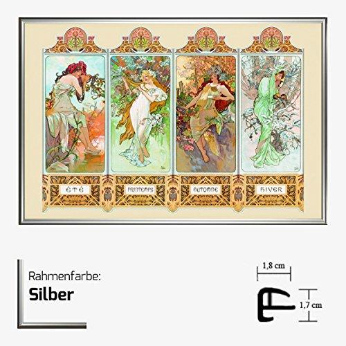 Kunstdruck Poster - Die Vier 4 Jahreszeiten Four Seasons 61 x 91,50 cm mit Kunststoff-Bilderrahmen & Acrylglas reflexfrei, viele Farben zur Auswahl, hier Silber -
