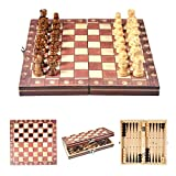 Schachspiel - Delaman Holz Magnetic Travel Schachspiel, 3 in 1, 9,4 Zoll, für Kinder Erwachsene, Klapp Turnier Spielbrett
