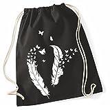 Mein Zwergenland Jutebeutel weiße Federn, 12L, schwarz, Motiv 10