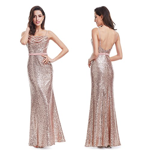 Ever Pretty Lang Pailletten Elegant Partykleid Cocktailkleid Abendkleid 40 Rosa Gold - 2