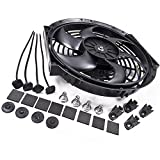 Universal 12V 80W 9' Electric Curved Radiator Intercooler Fan + Fitting Kit